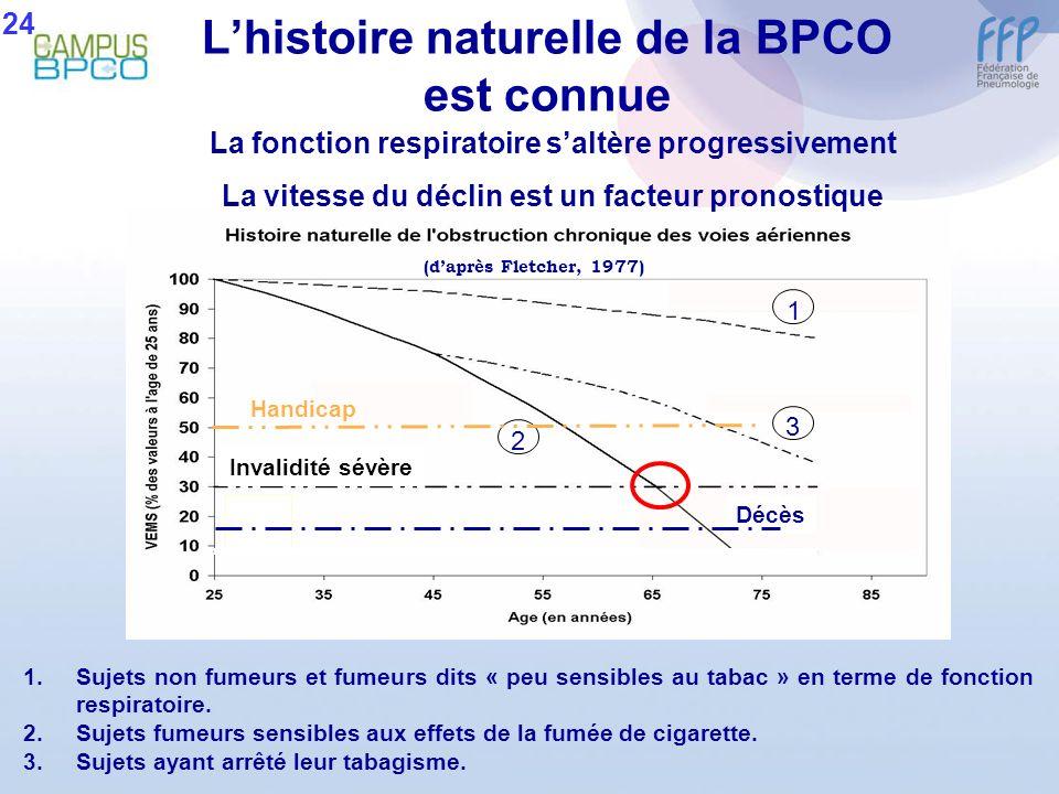 1 3 2 1.Sujets non fumeurs et fumeurs dits « peu sensibles au tabac » en terme de fonction respiratoire. 2.Sujets fumeurs sensibles aux effets de la f