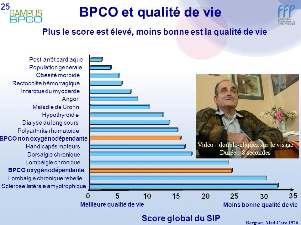 BPCO et qualité de vie Score global du SIP Sclérose latérale amyotrophique Lombalgie chronique rebelle BPCO oxygénodépendante Lombalgie chronique Dors