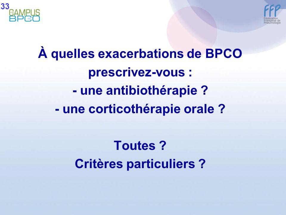 À quelles exacerbations de BPCO prescrivez-vous : - une antibiothérapie ? - une corticothérapie orale ? Toutes ? Critères particuliers ? 33