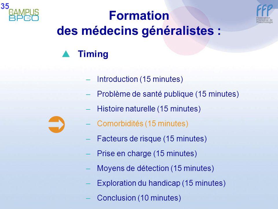 Formation des médecins généralistes : 35 Timing –Introduction (15 minutes) –Problème de santé publique (15 minutes) –Histoire naturelle (15 minutes) –