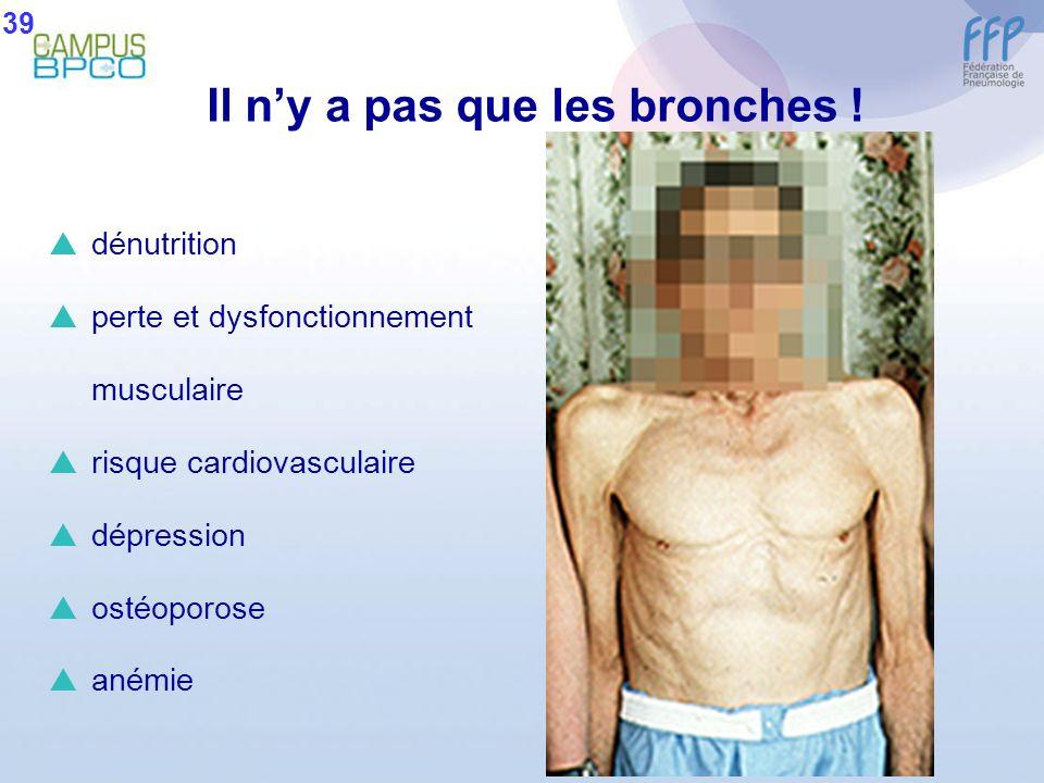 dénutrition perte et dysfonctionnement musculaire risque cardiovasculaire dépression ostéoporose anémie Il ny a pas que les bronches ! 39