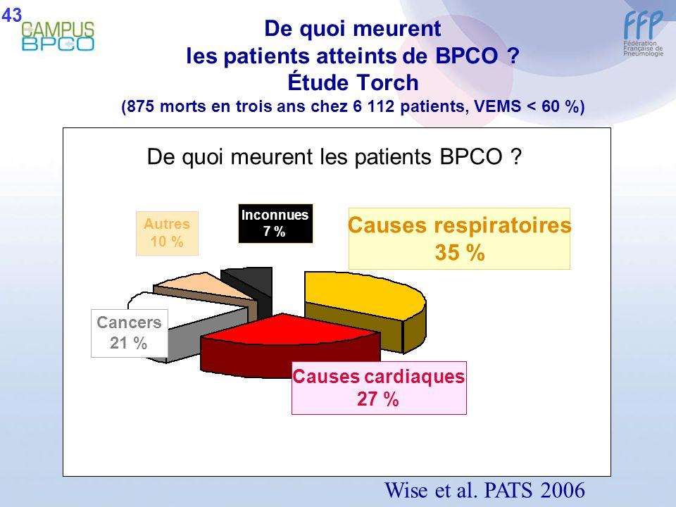De quoi meurent les patients atteints de BPCO ? Étude Torch (875 morts en trois ans chez 6 112 patients, VEMS < 60 %) Wise et al. PATS 2006 Inconnues