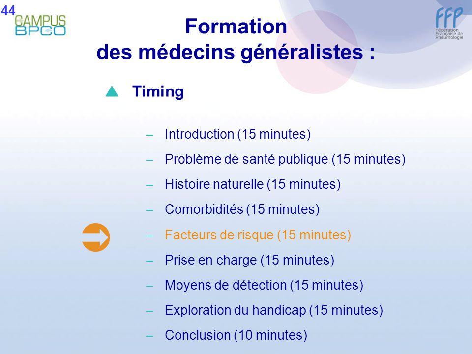 Formation des médecins généralistes : 44 Timing –Introduction (15 minutes) –Problème de santé publique (15 minutes) –Histoire naturelle (15 minutes) –