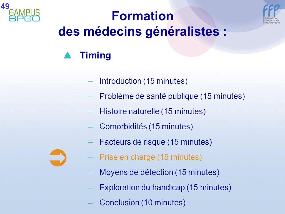Formation des médecins généralistes : 49 Timing –Introduction (15 minutes) –Problème de santé publique (15 minutes) –Histoire naturelle (15 minutes) –