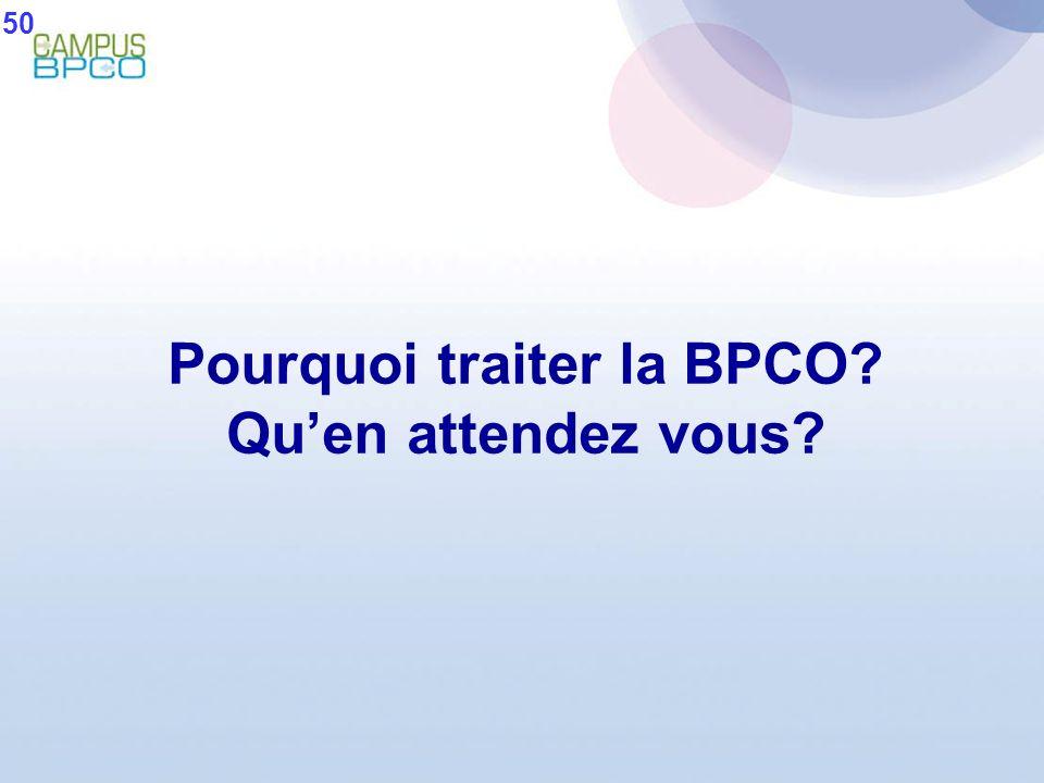 Pourquoi traiter la BPCO? Quen attendez vous? 50