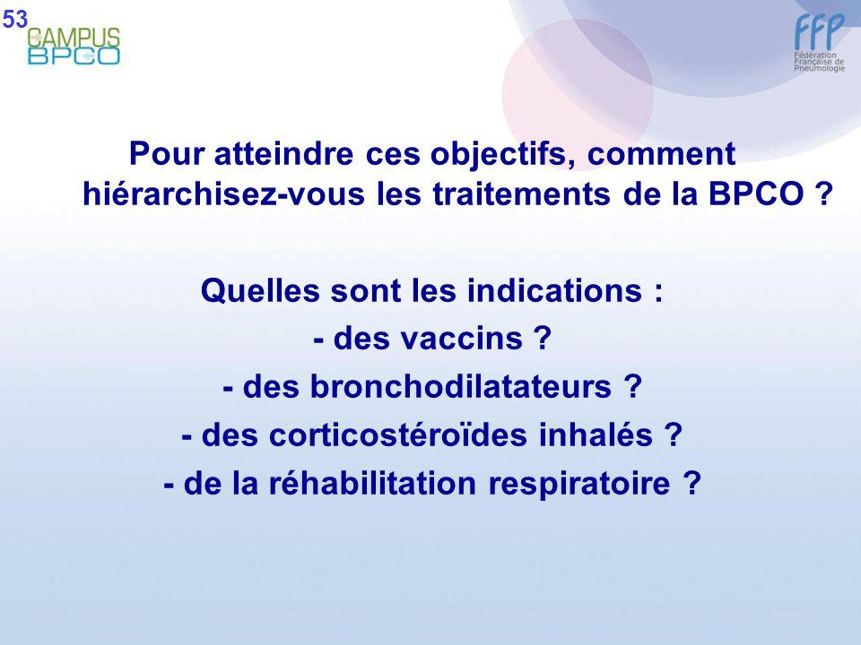 Pour atteindre ces objectifs, comment hiérarchisez-vous les traitements de la BPCO ? Quelles sont les indications : - des vaccins ? - des bronchodilat