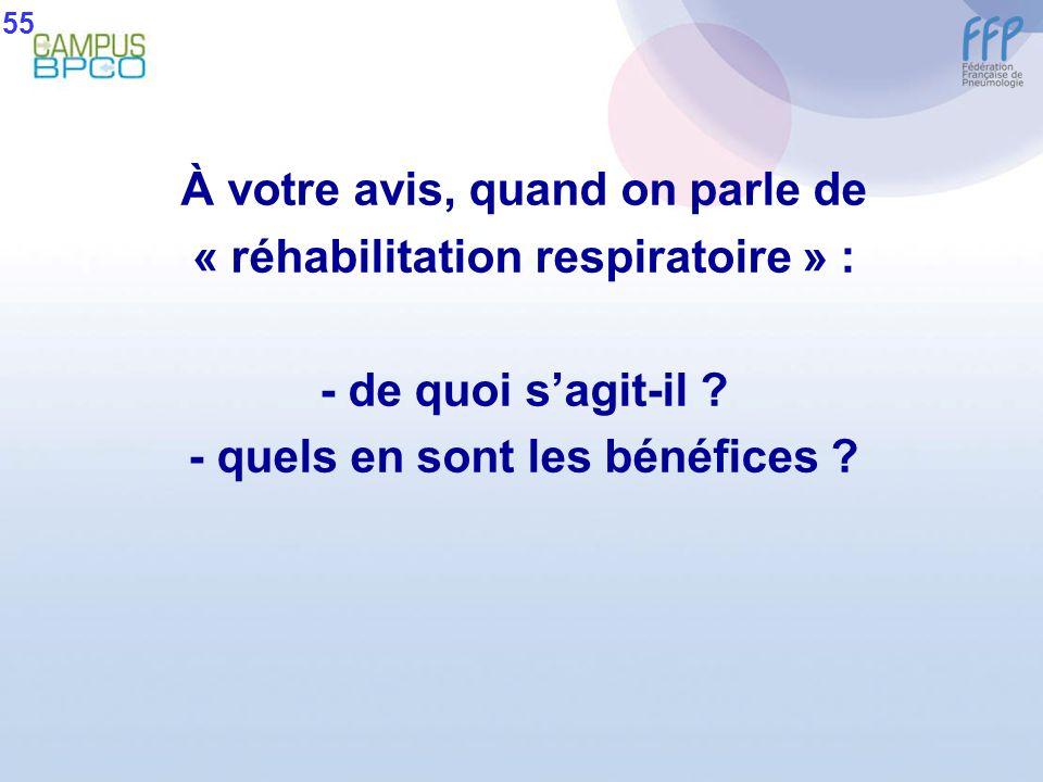 À votre avis, quand on parle de « réhabilitation respiratoire » : - de quoi sagit-il ? - quels en sont les bénéfices ? 55