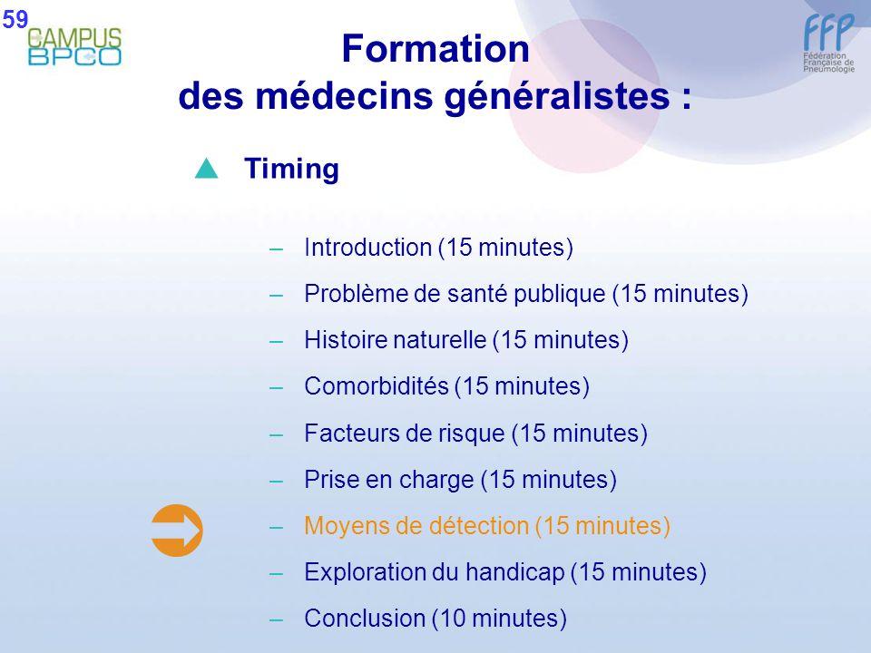 Formation des médecins généralistes : 59 Timing –Introduction (15 minutes) –Problème de santé publique (15 minutes) –Histoire naturelle (15 minutes) –