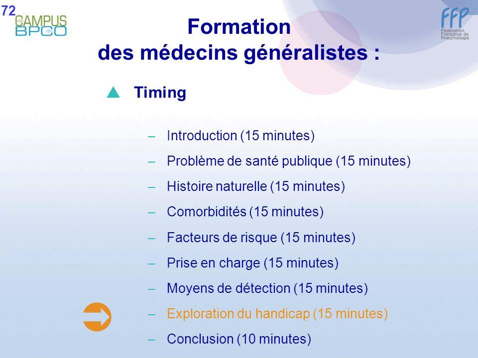 Formation des médecins généralistes : 72 Timing –Introduction (15 minutes) –Problème de santé publique (15 minutes) –Histoire naturelle (15 minutes) –