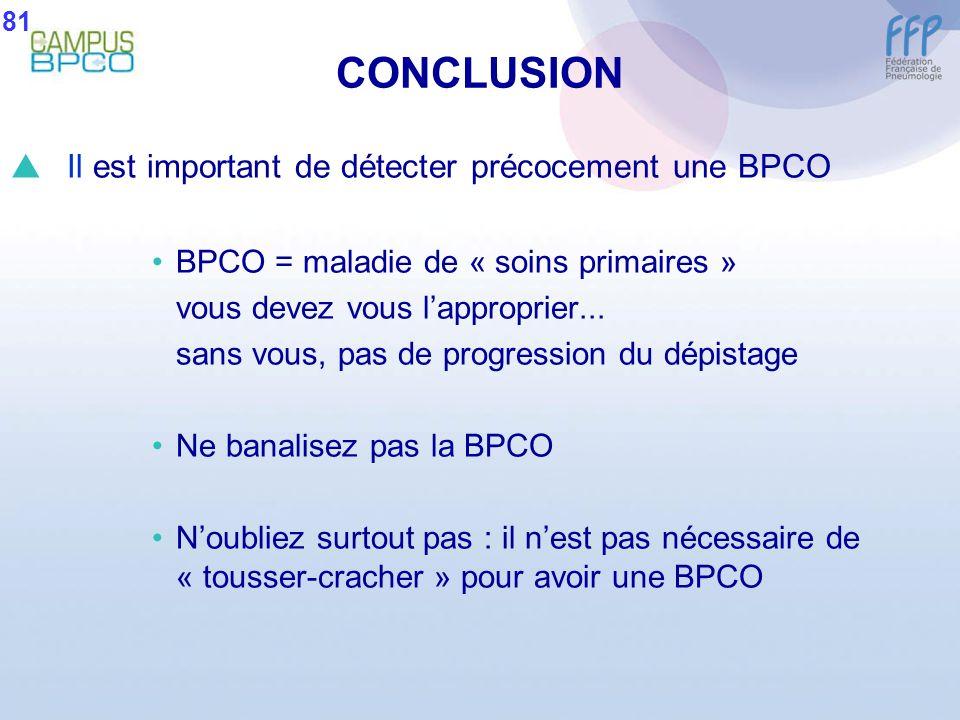 CONCLUSION Il est important de détecter précocement une BPCO BPCO = maladie de « soins primaires » vous devez vous lapproprier... sans vous, pas de pr