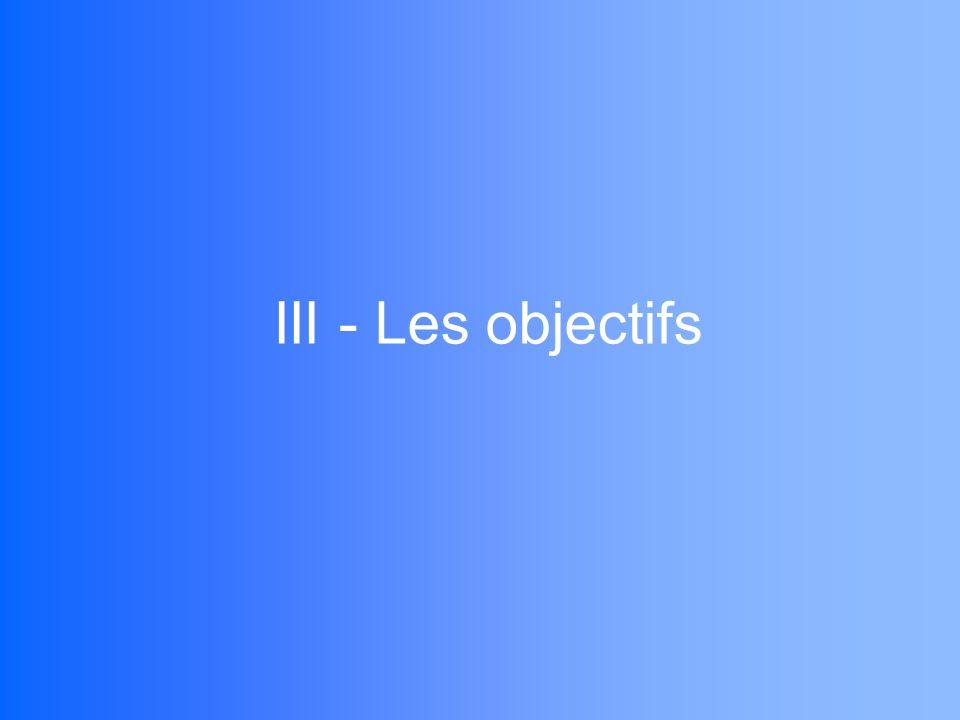 III - Les objectifs
