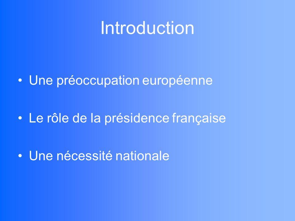 Introduction Une préoccupation européenne Le rôle de la présidence française Une nécessité nationale