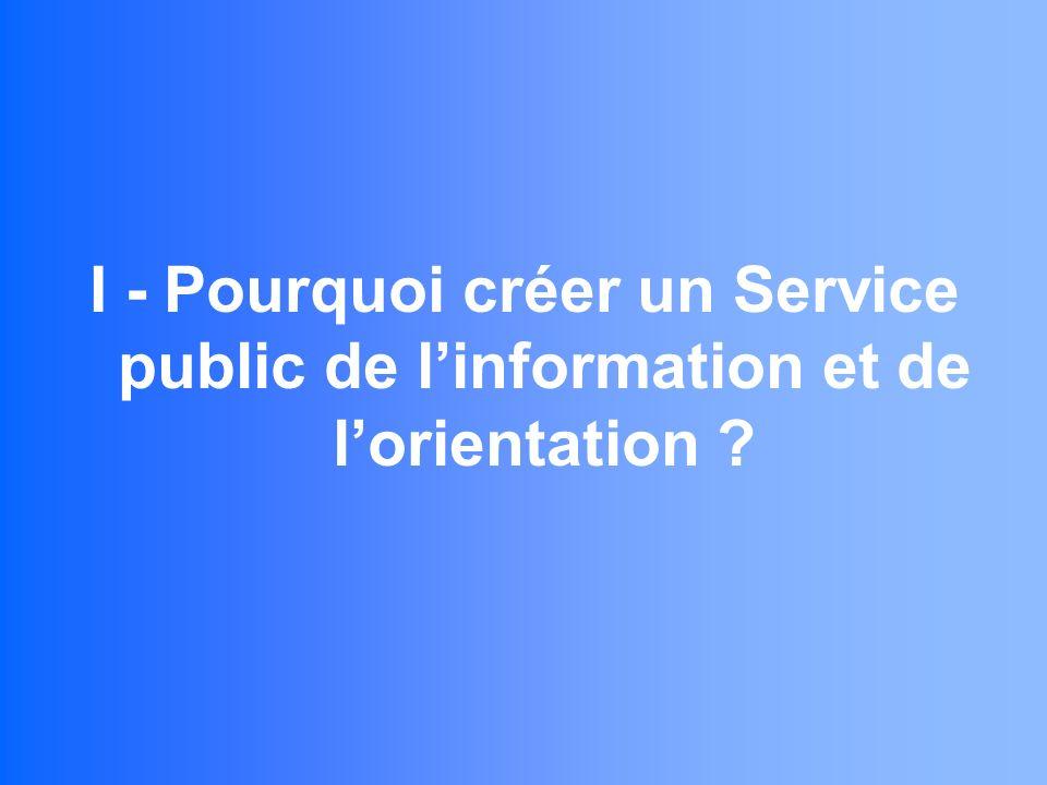 I - Pourquoi créer un Service public de linformation et de lorientation