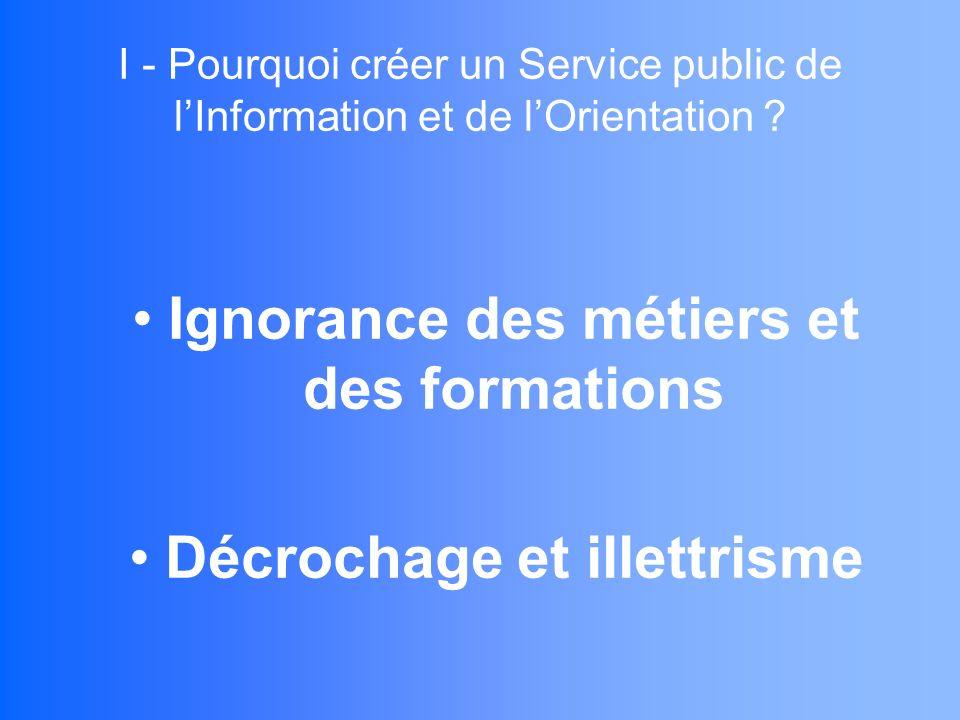 I - Pourquoi créer un Service public de lInformation et de lOrientation .