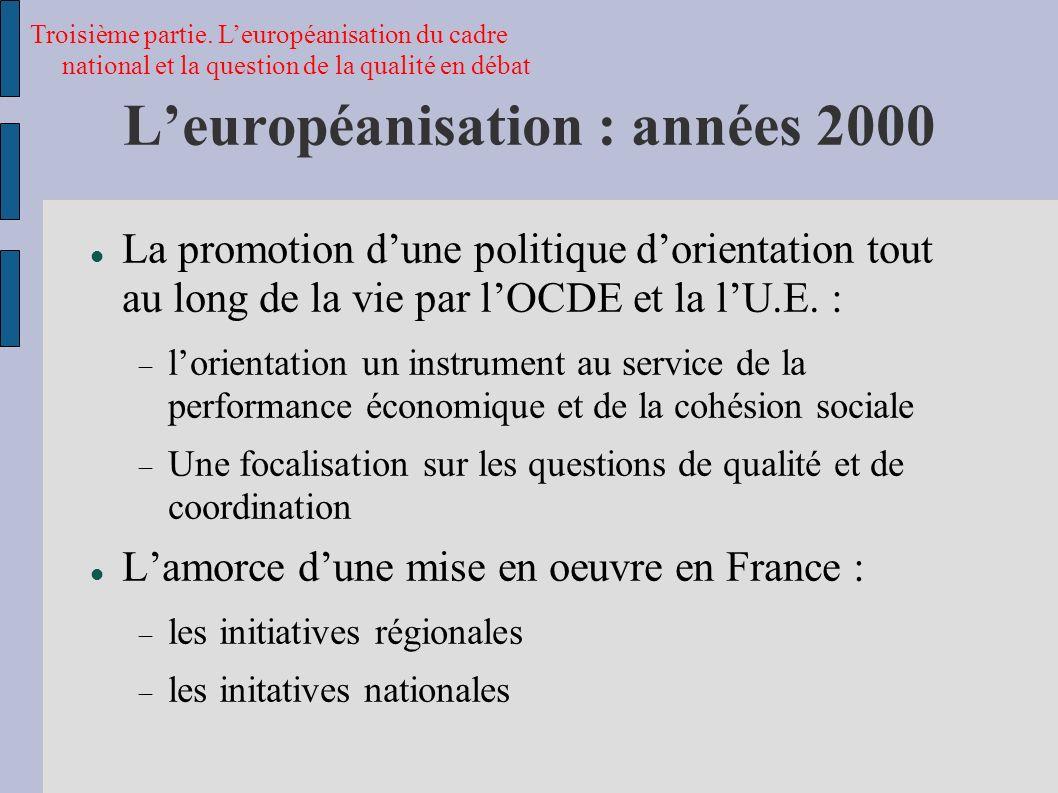 Leuropéanisation : années 2000 La promotion dune politique dorientation tout au long de la vie par lOCDE et la lU.E.