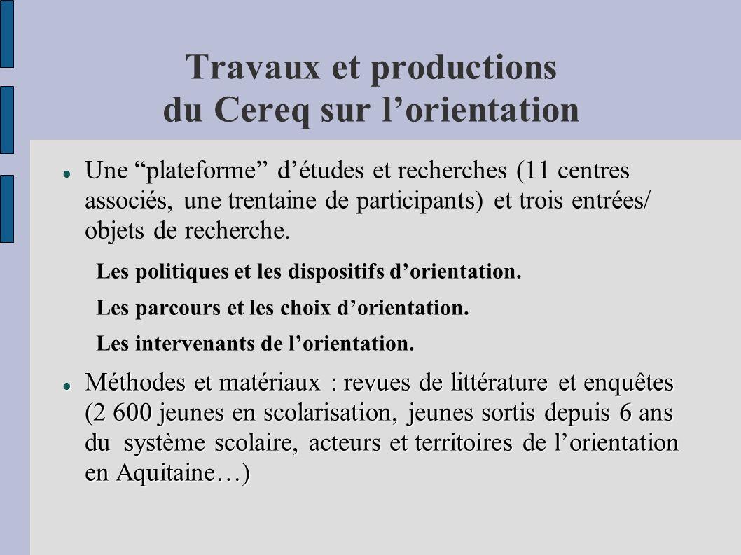 Travaux et productions du Cereq sur lorientation Une plateforme détudes et recherches (11 centres associés, une trentaine de participants) et trois entrées/ objets de recherche.