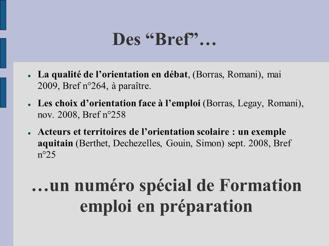 Des Bref… La qualité de lorientation en débat, (Borras, Romani), mai 2009, Bref n°264, à paraître.
