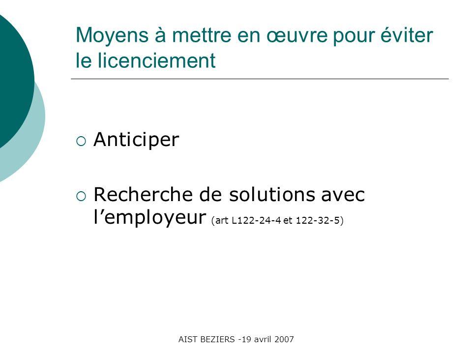 AIST BEZIERS -19 avril 2007 Moyens à mettre en œuvre pour éviter le licenciement Anticiper Recherche de solutions avec lemployeur (art L122-24-4 et 12