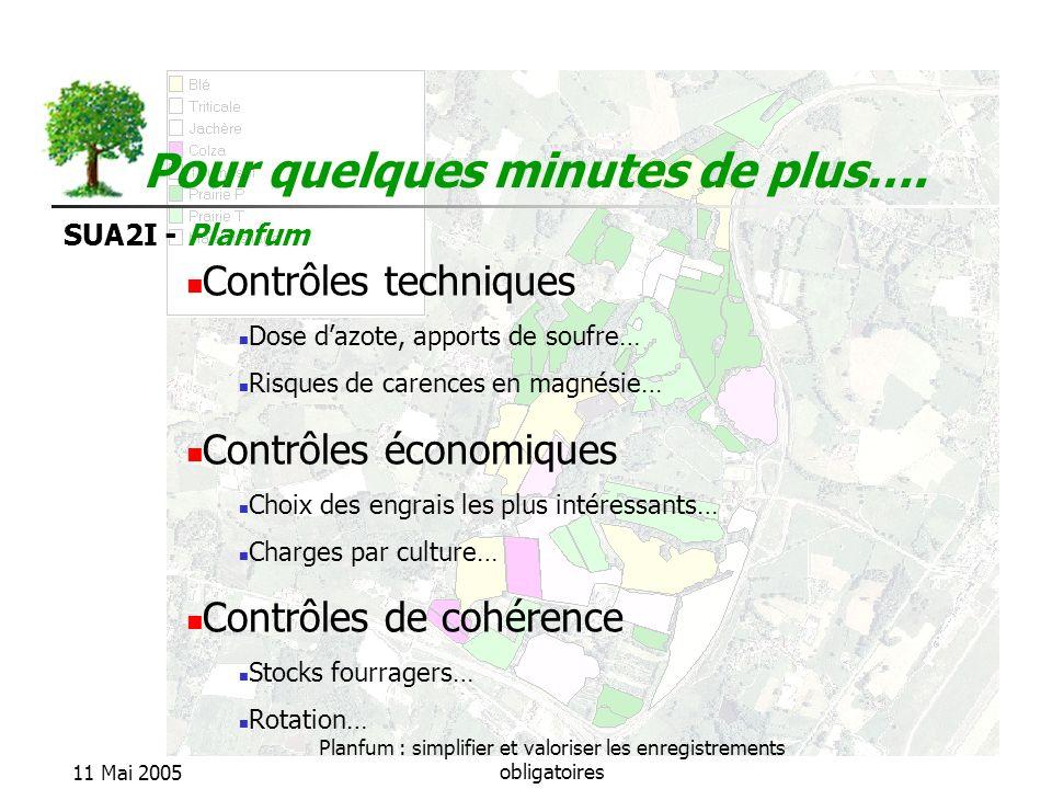 SUA2I - Planfum 11 Mai 2005 Planfum : simplifier et valoriser les enregistrements obligatoires Pour quelques minutes de plus…. Contrôles techniques Do