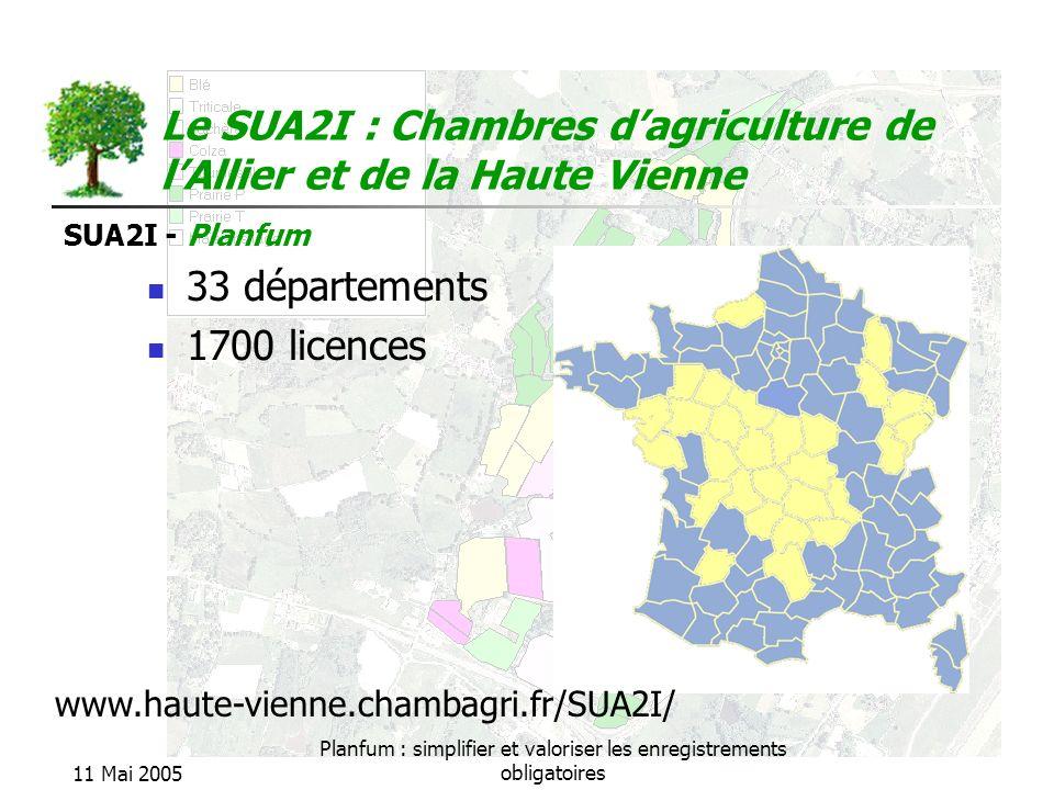 SUA2I - Planfum 11 Mai 2005 Planfum : simplifier et valoriser les enregistrements obligatoires 33 départements 1700 licences Le SUA2I : Chambres dagri