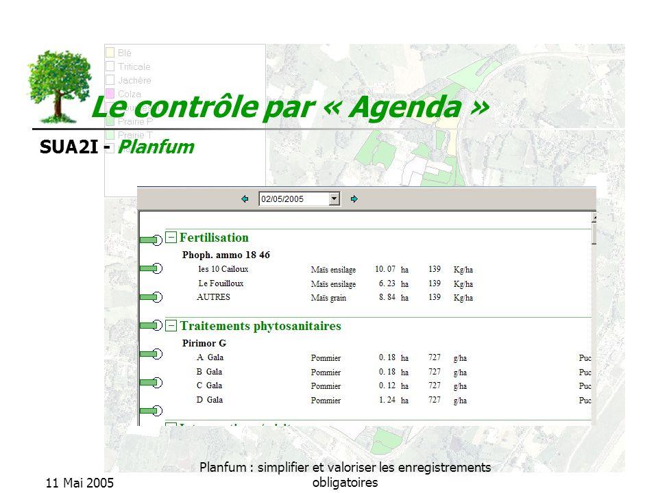 SUA2I - Planfum 11 Mai 2005 Planfum : simplifier et valoriser les enregistrements obligatoires Le contrôle par « Agenda »