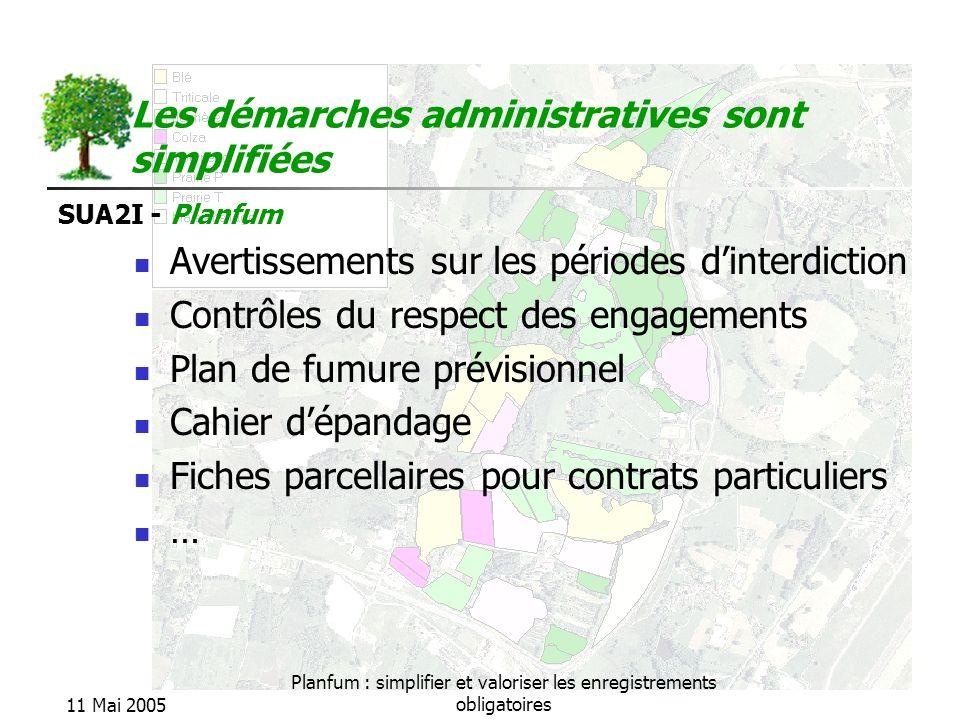 SUA2I - Planfum 11 Mai 2005 Planfum : simplifier et valoriser les enregistrements obligatoires Les démarches administratives sont simplifiées Avertiss