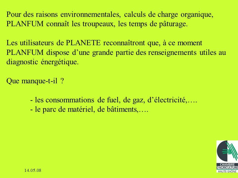 14.05.08 Les données énergétiques pures sont à extraire du Grand Livre Voir la compta