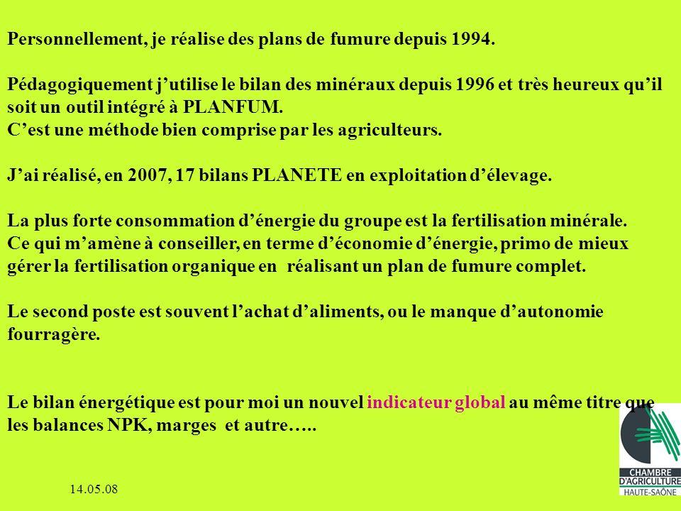 14.05.08 PLANFUM est un logiciel de gestion de parcelle assez complet : - le plan dépandage (types de sols, PAC,…) - lassolement - le plan de fumure (prévision, réalisation) - les analyses de sols - les phyto - les indicateurs agronomiques, les marges -….