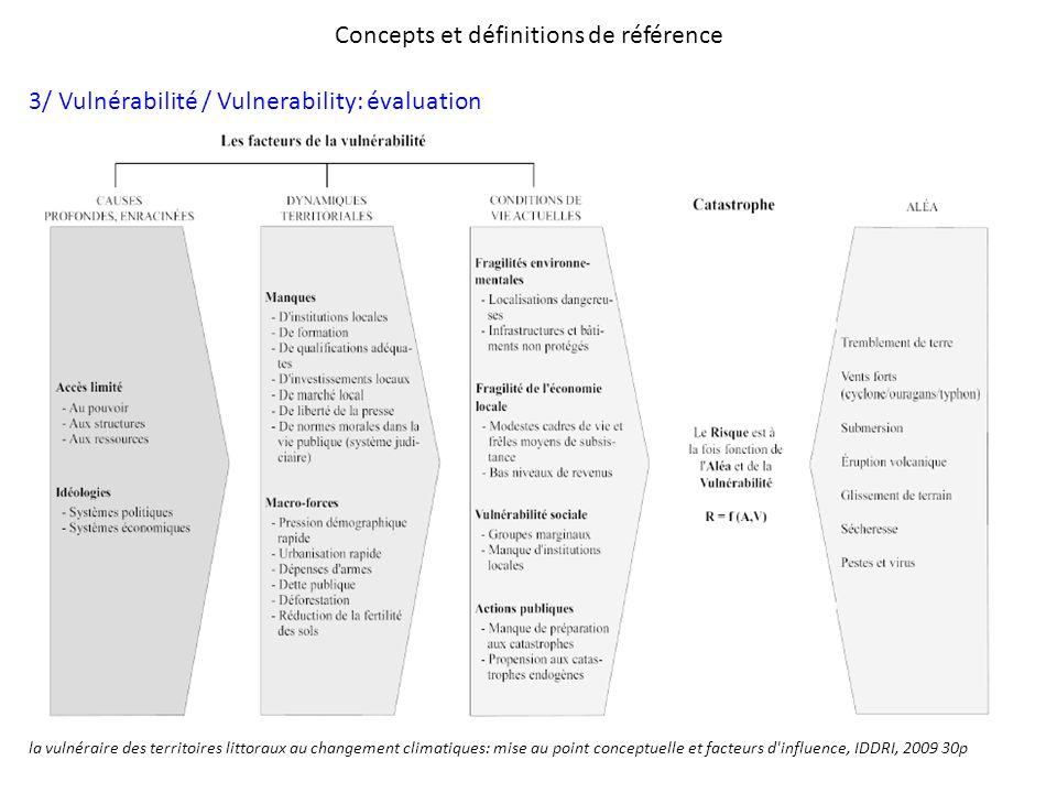 Concepts et définitions de référence 3/ Vulnérabilité / Vulnerability: évaluation la vulnéraire des territoires littoraux au changement climatiques: m