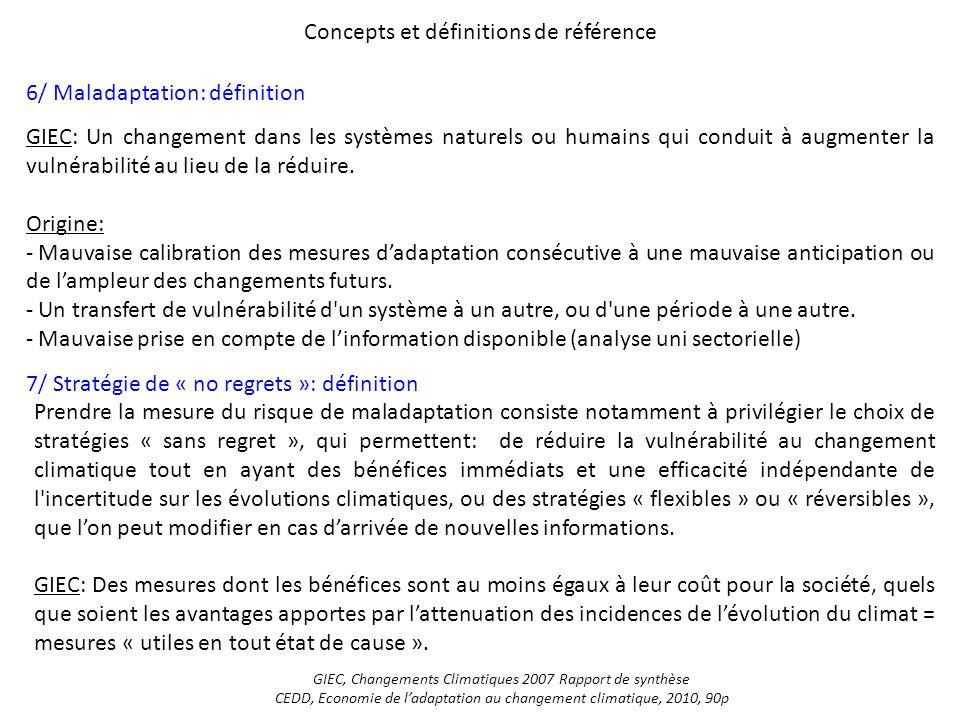 Concepts et définitions de référence 6/ Maladaptation: définition 7/ Stratégie de « no regrets »: définition GIEC: Un changement dans les systèmes nat