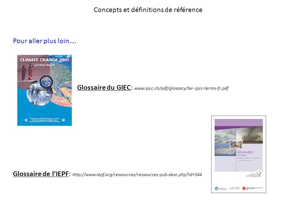 Concepts et définitions de référence Pour aller plus loin…. Glossaire du GIEC: www.ipcc.ch/pdf/glossary/tar-ipcc-terms-fr.pdf Glossaire de lIEPF: http