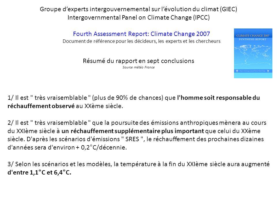 Groupe dexperts intergouvernemental sur lévolution du climat (GIEC) Intergovernmental Panel on Climate Change (IPCC) Fourth Assessment Report: Climate
