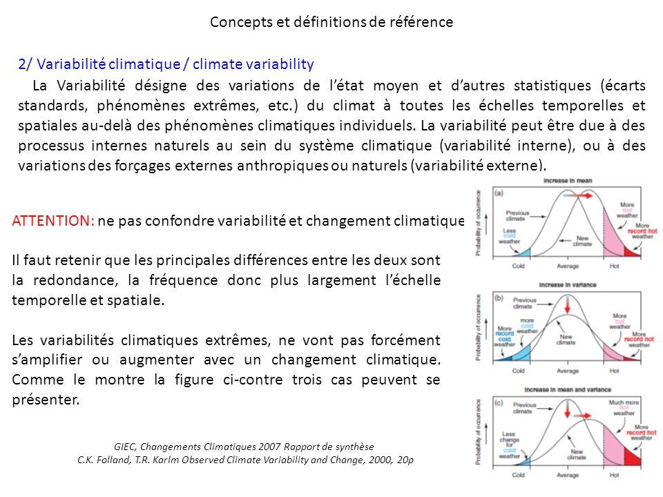 Concepts et définitions de référence 2/ Variabilité climatique / climate variability La Variabilité désigne des variations de létat moyen et dautres s