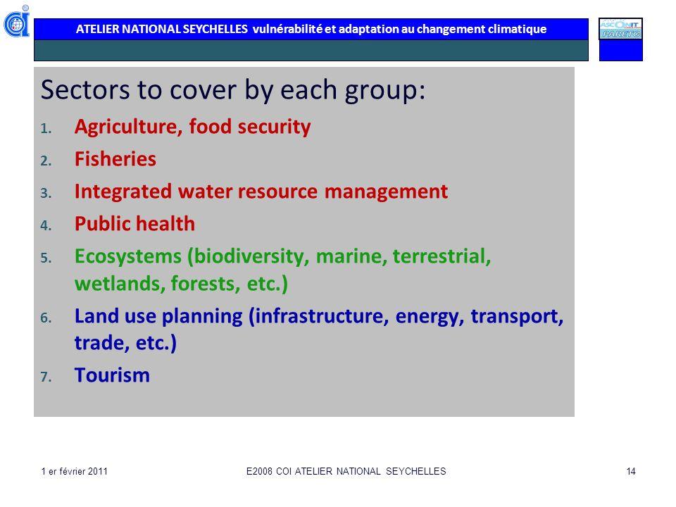 ATELIER NATIONAL SEYCHELLES vulnérabilité et adaptation au changement climatique Sectors to cover by each group: 1.