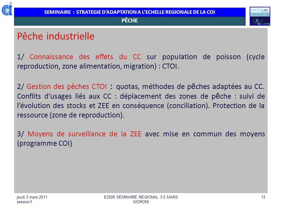 SEMINAIRE : STRATEGIE DADAPTATION A LECHELLE REGIONALE DE LA COI jeudi 3 mars 2011 session1 E2008 SEMINAIRE REGIONAL 3-5 MARS MORONI 13 PÊCHE Pêche in