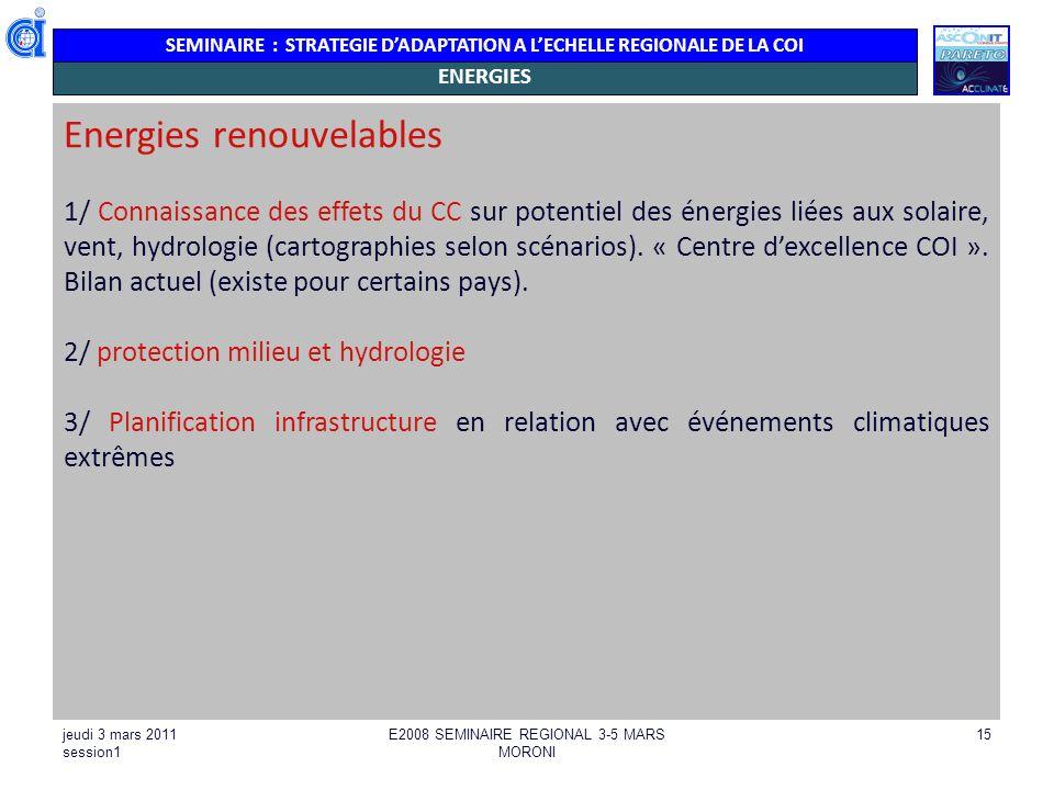 SEMINAIRE : STRATEGIE DADAPTATION A LECHELLE REGIONALE DE LA COI jeudi 3 mars 2011 session1 E2008 SEMINAIRE REGIONAL 3-5 MARS MORONI 15 ENERGIES Energ