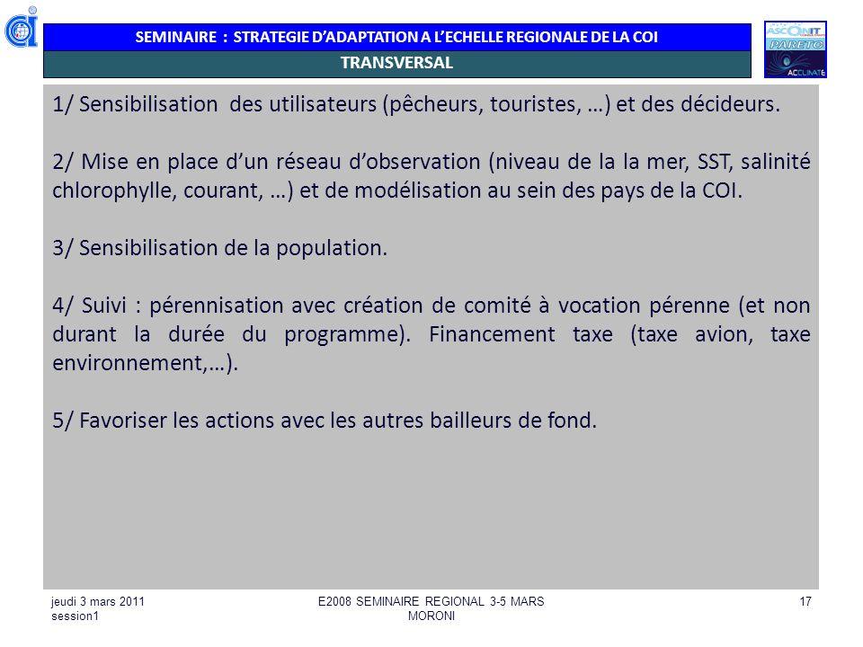 SEMINAIRE : STRATEGIE DADAPTATION A LECHELLE REGIONALE DE LA COI jeudi 3 mars 2011 session1 E2008 SEMINAIRE REGIONAL 3-5 MARS MORONI 17 TRANSVERSAL 1/