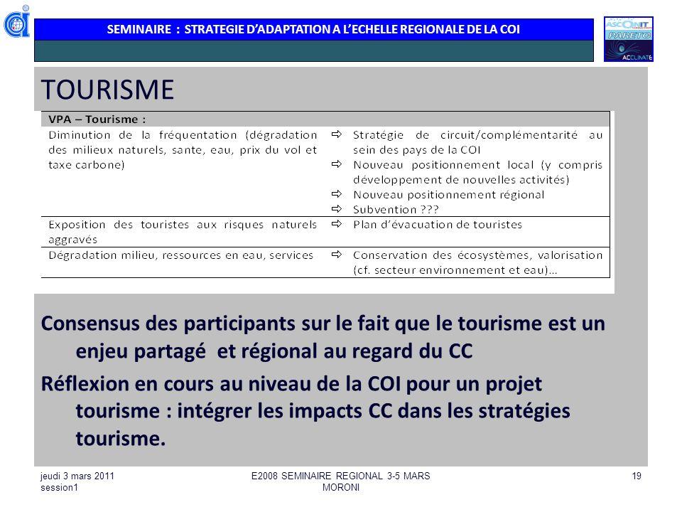 SEMINAIRE : STRATEGIE DADAPTATION A LECHELLE REGIONALE DE LA COI jeudi 3 mars 2011 session1 E2008 SEMINAIRE REGIONAL 3-5 MARS MORONI 19 TOURISME Conse