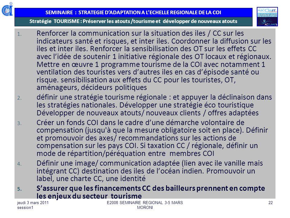 SEMINAIRE : STRATEGIE DADAPTATION A LECHELLE REGIONALE DE LA COI jeudi 3 mars 2011 session1 E2008 SEMINAIRE REGIONAL 3-5 MARS MORONI 22 Stratégie TOUR