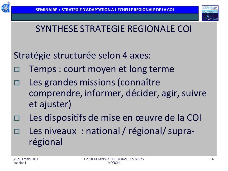 SEMINAIRE : STRATEGIE DADAPTATION A LECHELLE REGIONALE DE LA COI jeudi 3 mars 2011 session1 E2008 SEMINAIRE REGIONAL 3-5 MARS MORONI 32 SYNTHESE STRAT