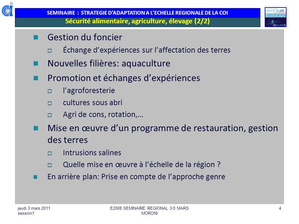 SEMINAIRE : STRATEGIE DADAPTATION A LECHELLE REGIONALE DE LA COI jeudi 3 mars 2011 session1 E2008 SEMINAIRE REGIONAL 3-5 MARS MORONI 25 Harmoniser les principes de définition des périmètres (zonage et sous zonages) de GIZC, et des principes partagés de gestion de GIZC adaptation des règlements aux spécificités des petites îles (distances..) Appuyer lintégration du CC dans les politiques de développement/ sectorielles sur les aspects aménagement du territoire Appuyer la mise en œuvre en complémentarité avec les niveaux nationaux sur les aspects sensibilisation, information, communication (outils, méthodes, supports, ….) Intégrer les indices CC dans les réglementations, règles de conception, normes pour les infrastructures Promouvoir une réflexion sur les réseaux de secours/ alternatives (souvent route littorale unique pour desservir lîle) : développement des petits ports pour le cabotage de villages à villages.