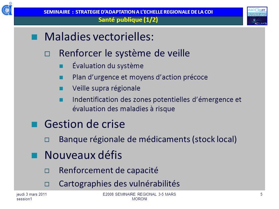 SEMINAIRE : STRATEGIE DADAPTATION A LECHELLE REGIONALE DE LA COI jeudi 3 mars 2011 session1 E2008 SEMINAIRE REGIONAL 3-5 MARS MORONI 5 Santé publique