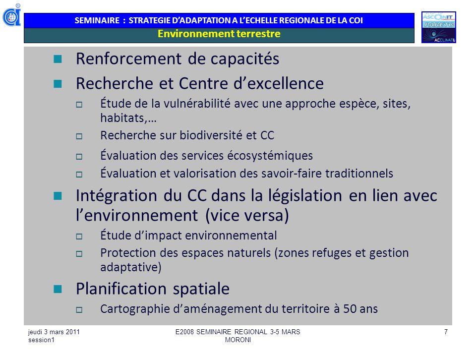 SEMINAIRE : STRATEGIE DADAPTATION A LECHELLE REGIONALE DE LA COI jeudi 3 mars 2011 session1 E2008 SEMINAIRE REGIONAL 3-5 MARS MORONI 18 Gestion des ressources en eau Tourisme Aménagement du territoire, planification