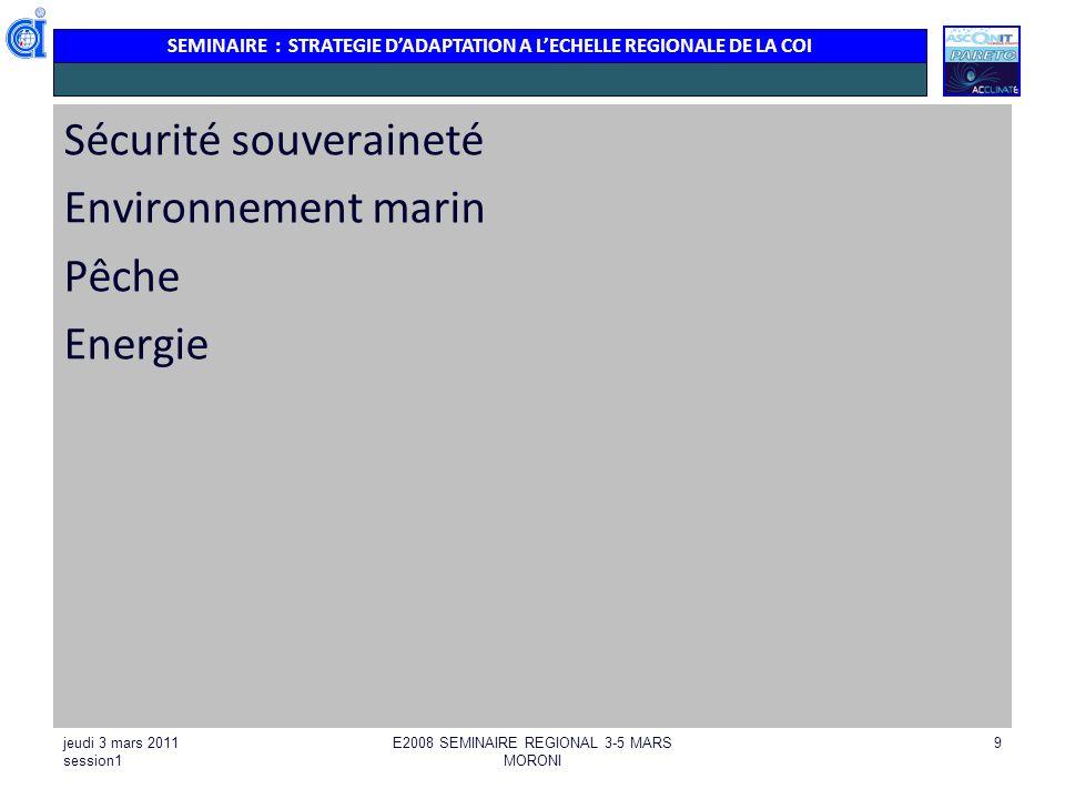 SEMINAIRE : STRATEGIE DADAPTATION A LECHELLE REGIONALE DE LA COI jeudi 3 mars 2011 session1 E2008 SEMINAIRE REGIONAL 3-5 MARS MORONI 10 ENVIRONNEMENT : MILEU MARIN ET COTIER Dégradation des milieux Récifs Herbiers Mangroves : 1/ Suivi site sentinelle : réactiver le réseau de suivi des récifs.