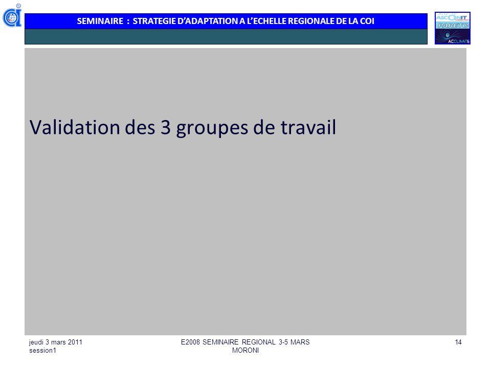 SEMINAIRE : STRATEGIE DADAPTATION A LECHELLE REGIONALE DE LA COI jeudi 3 mars 2011 session1 E2008 SEMINAIRE REGIONAL 3-5 MARS MORONI 14 Validation des