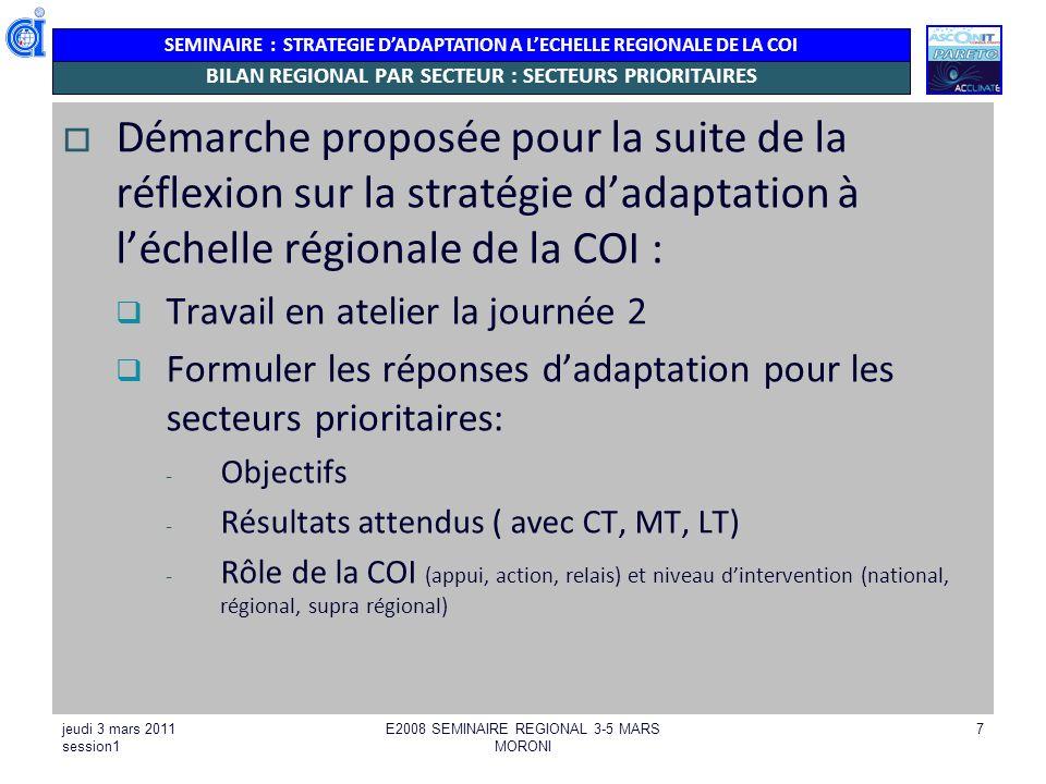 SEMINAIRE : STRATEGIE DADAPTATION A LECHELLE REGIONALE DE LA COI jeudi 3 mars 2011 session1 E2008 SEMINAIRE REGIONAL 3-5 MARS MORONI 7 BILAN REGIONAL