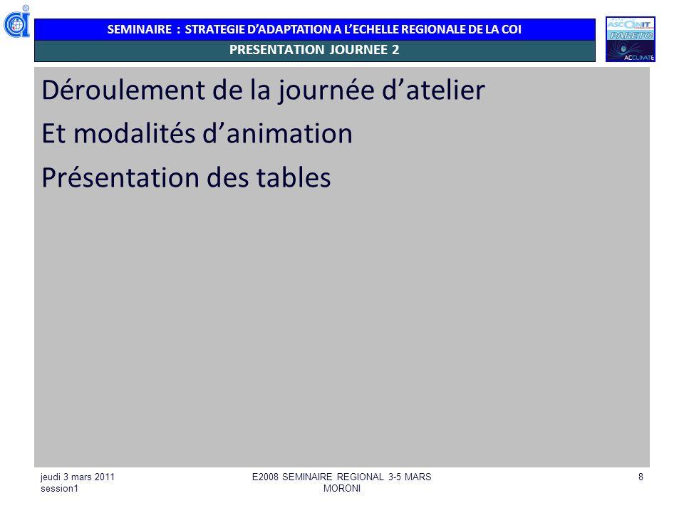 SEMINAIRE : STRATEGIE DADAPTATION A LECHELLE REGIONALE DE LA COI jeudi 3 mars 2011 session1 E2008 SEMINAIRE REGIONAL 3-5 MARS MORONI 8 PRESENTATION JO