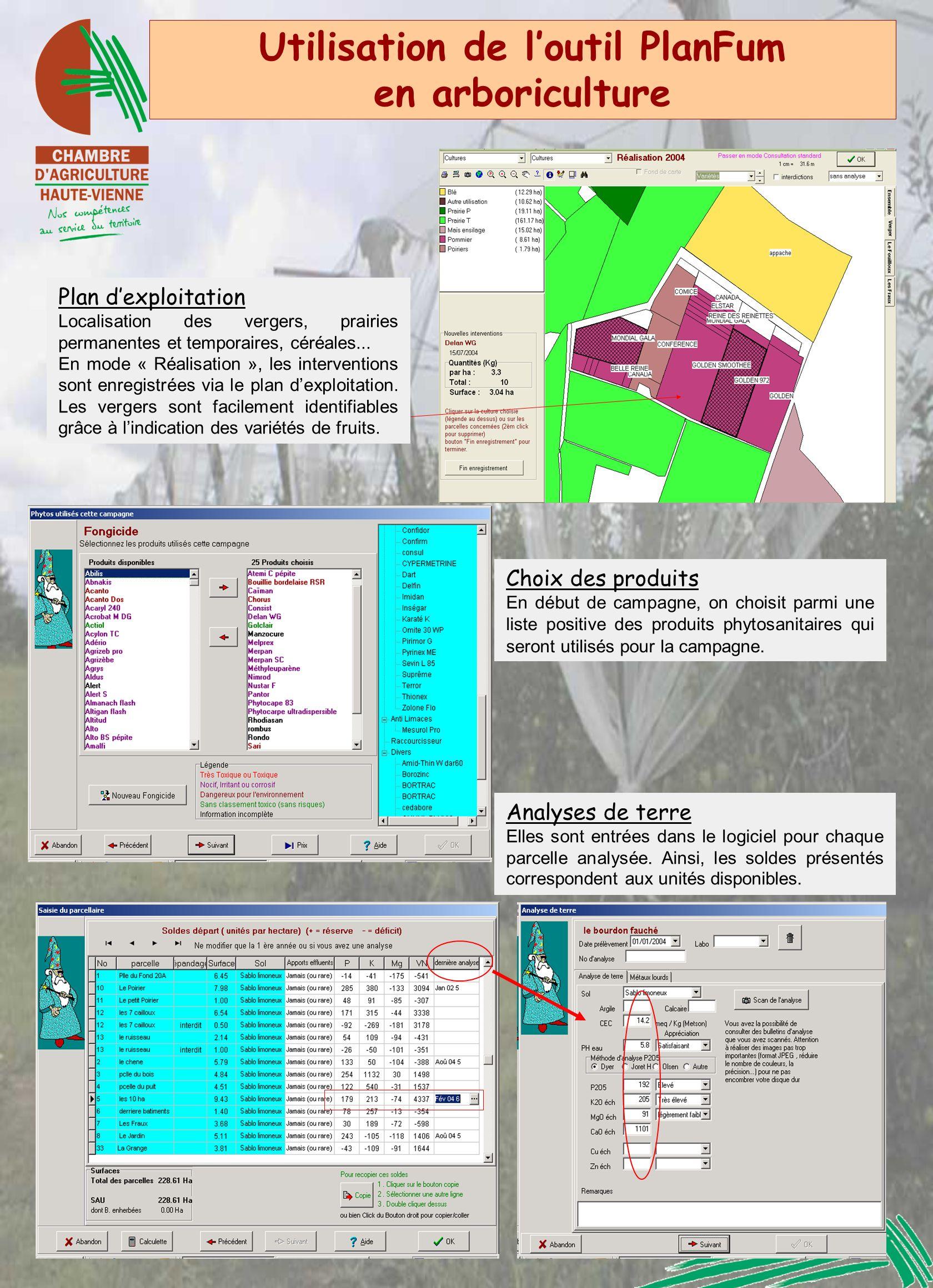 Utilisation de loutil PlanFum en arboriculture Analyses de terre Elles sont entrées dans le logiciel pour chaque parcelle analysée. Ainsi, les soldes