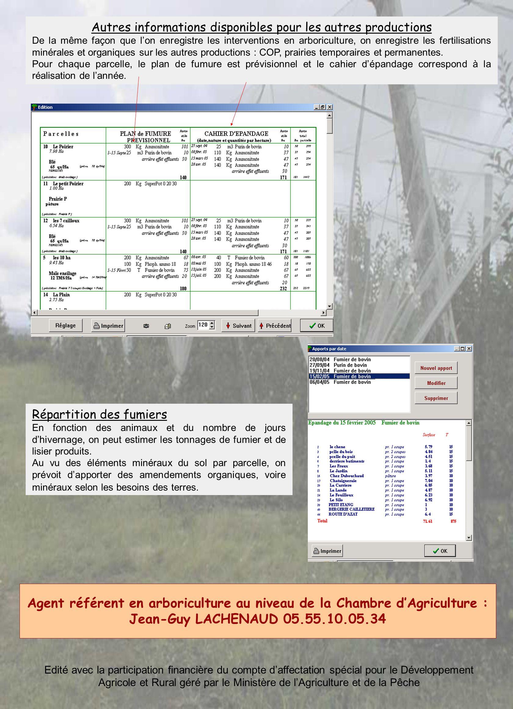 Autres informations disponibles pour les autres productions De la même façon que lon enregistre les interventions en arboriculture, on enregistre les