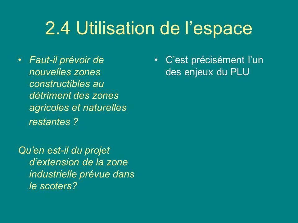 2.4 Utilisation de lespace Faut-il prévoir de nouvelles zones constructibles au détriment des zones agricoles et naturelles restantes .